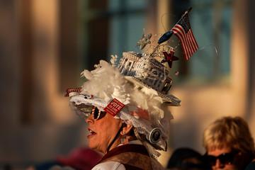Debbie Boyd wears a White House hat as she attends a rally for U.S. democratic presidential candidate Elizabeth Warren in San Diego, California,