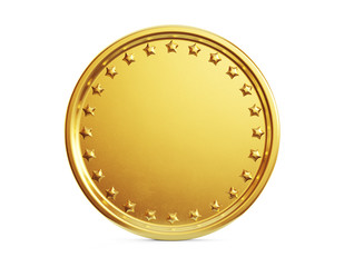 Empty gold coin isolated on a white background.