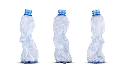 three crushed plastic bottles
