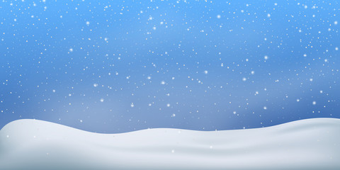 Fotomurales - Snow winter background. Snowfall, snowflakes in different shapes. Christmas snowstorm blizzard