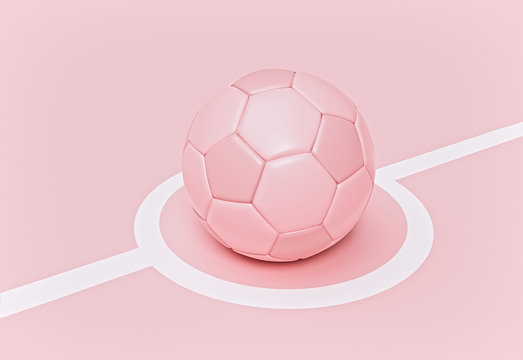 soccer ball isolated on pastel pink background. minimal concept. 3d rendering