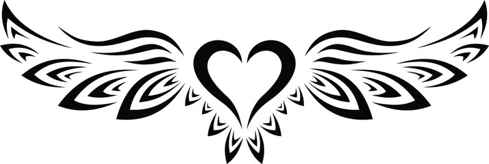 Black and White Tribal Tattoo Heart with Wings
