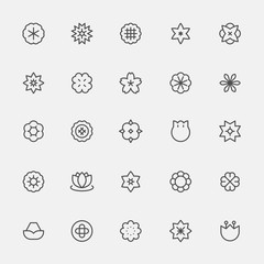 Set of monochrome simple line style flower icons. flat design style minimal vector illustration.