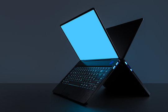 Laptop on a clean table with space on a dark background. Realistic 3D rendering with clipping path.