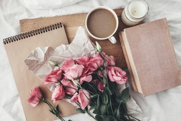 Fototapeta Sketchbook and coffee on wooden tray obraz