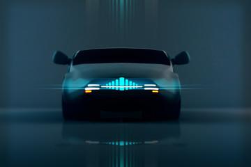 Autonomus Electric Vehicle Concept Design 3D Illustration