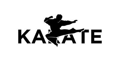 karate silhouette illustration vector template