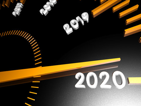 Numbers of the upcoming new year 2020 on the speedometer surface, with an arrow approaching them. 3d render.