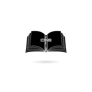 Black Bible icon isolated on white background