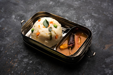 Upma  Sambar in Lunch Box of stainless steel, selective focus