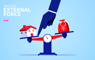 External pressure causes the house to weigh more than the purse
