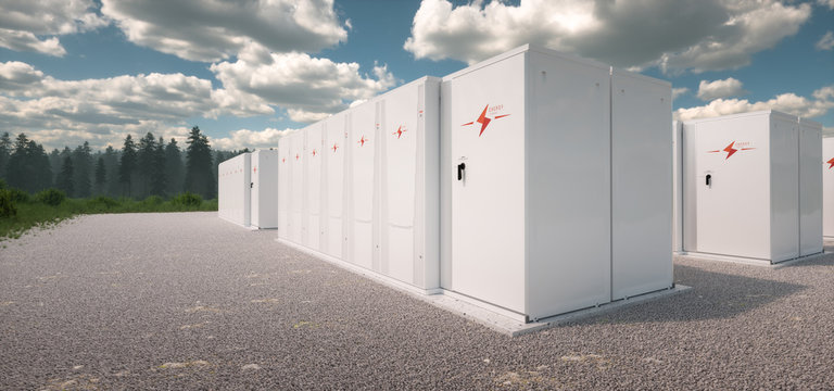 Concept of renewable energy battery storage system in nature. 3d rendering