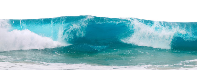 Wall Mural - Powerful ocean blue waves with white foam isolated on a white background. Wide format.