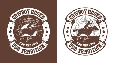 Cowboy horseman with lasso - western rodeo vintage emblem. Cowboy rider logo stamp style. Vector illustration.