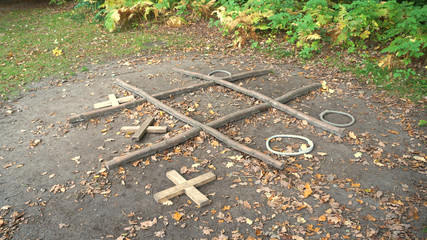 Game of a child in the forest from childhood