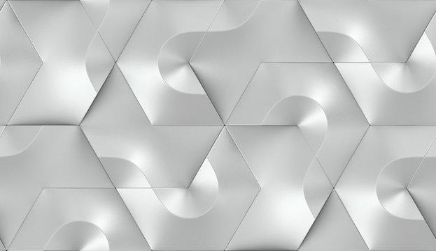 3D Wallpaper of gray shane metal futuristic tiles, hexagon form. High quality seamless realistic texture.