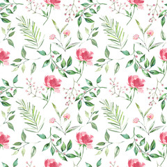 Wild forest herbs and flowers seamless pattern