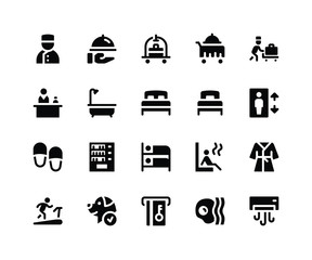 Simple Set of Hotel Service Related Vector Glyph Icons. Contains such Icons as bellboy, room service, bathtube, sauna and More. pixel perfect vector icons based on 32px grid. Well Organized and Layere