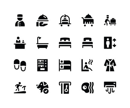 Simple Set of Hotel Service Related Vector Glyph Icons. Contains such Icons asbellboy, room service, bathtube, sauna and More. pixel perfect vector icons based on 32px grid. Well Organized and Layere