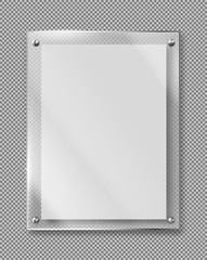 Blank poster in glass frame hanging on wall 3d realistic vector illustration isolated on transparent background. Empty photo frame template, rectangular name plate, banner plexiglass holder mock-up