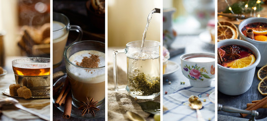 Collage of photos of hot winter drinks. Tea, latte, coffee, mulled wine