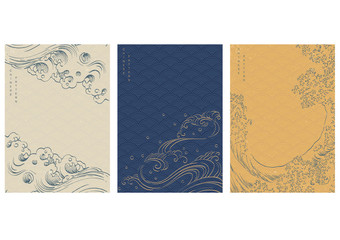 Chinese template with Japanese wave vector. Asia traditional background. Hand drawn wave line elements.