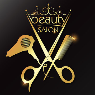 Beauty salon and hairdresser golden crown and scissors comb hair dryer
