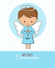Angel praying Communion or baptism card