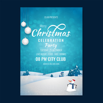 Merry Christmas party template or flyer design with winter landscape, time and venue details on blurred blue background.