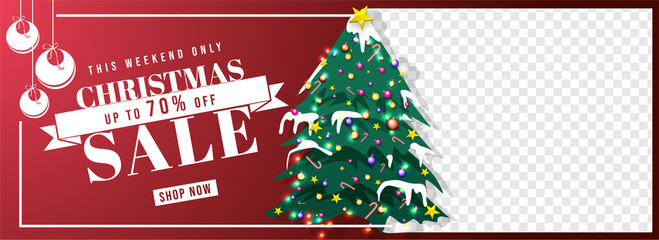 The weekend sale header or banner design with 70% discount offer, xmas tree and space for product image for advertisement concept.