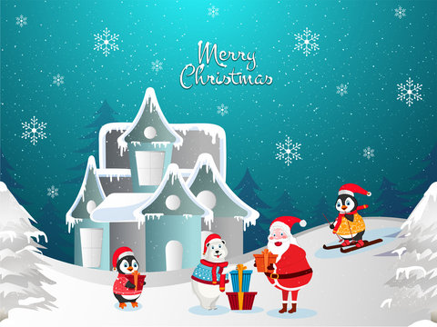 Merry Christmas background with illustration of snow capped house, little penguins celebrating festival with snata clause on winter landscape background decorated with snowflakes.