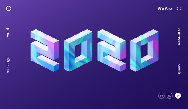 Isometric trendy 2020 New Year numbers illustration. Magic colorful gradient