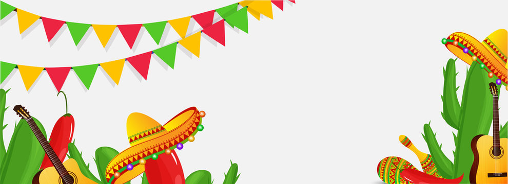 Creative fiesta party header poster or banner design with illustration of guitar, cactus plant and sombrero hat on white background with colorful bunting flag.
