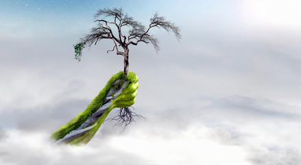 Climate change hand keeps dry tree above the clouds