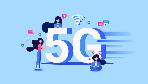 Creative 5g technology concept with smartphone device and small people characters. Can use for web banner, infographics, poster