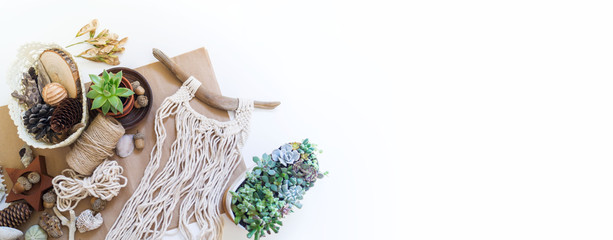Macrame weaving from natural cotton threads. Home decor vintage boho style.