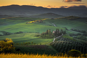 Spring light painted fields in Tuscany.