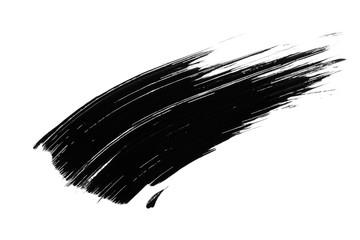 Black mascara smudge, brush stroke isolated on white background. Beauty product swatch