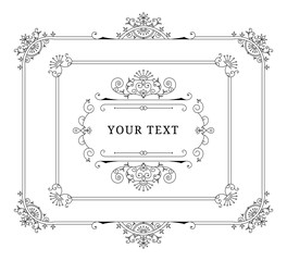 Classic rectangle frames with vintage design elements. Retro flourish style. Vector isolated illustration.