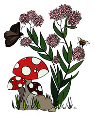Milkweed plant and mushrooms with a butterfly and bumblebee flying nearby.