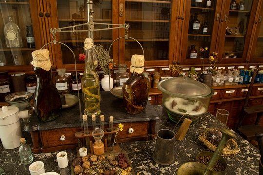 bottles and jars of medicine in an old pharmacy