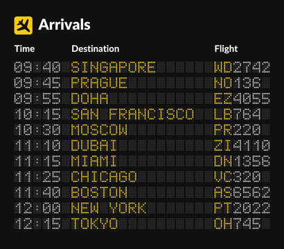 LED Airport Board isolated Template on Dark Background. Vector