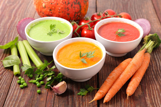 assorted of vegetable soup- pumpkin, tomato and zucchini soup