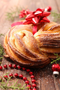 traditional christmas pastry with decoration