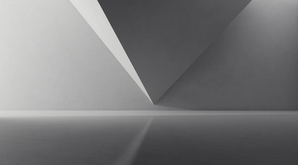 Abstract of concrete space with sun light cast the shadow on the polygonal wall ,Geometric structure design,Perspective of brutalism  architecture,3d rendering Wall mural