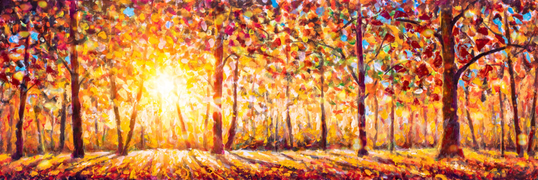 Autumn panorama. Original oil painting on canvas art. Sunny autumn forest trees. Modern impressionism. Autumn gold yellow orange red trees park in sun light landscape artwork acrylic painting