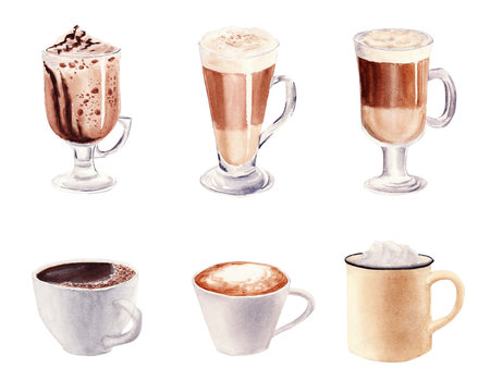 Hand painted Set with Cup of Coffee Latte and Glass of chocolate mocha coffee isolated on white background.