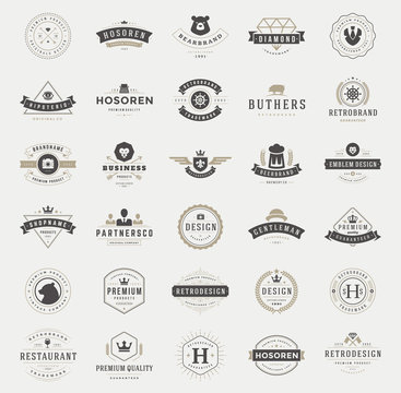 Retro vintage logotypes and badges set typopgraphic design elements vector illustration