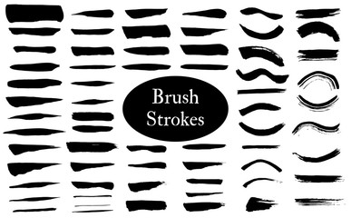 Big collection of grunge brush ink or paint black strokes. Vector eps10.