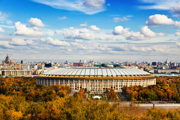 View of Moscow and Luzhniki sports complex from the observation deck on Sparrow hills, Russia